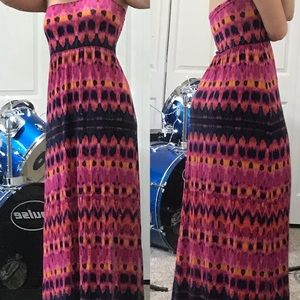 Brightly patterned maxi skirt/dress.